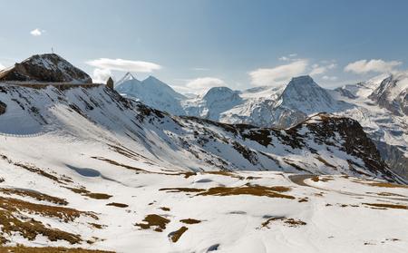 Mountains landscape Grossglockner High Alpine Road in Austrian Alps.