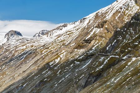 Grossglockner High Alpine Road in Austrian Alps. Mountains landscape close to Kaiser Franz Josef glacier.