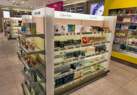 SKOFIJE, SLOVENIA - SEPTEMBER 21, 2017: Calvin Klein and Roberto Cavalli parfumery store shelf in Travel Free bordershop. It is a highway retail outlet on the border between Slovenia and Italy.