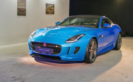 KIEV, UKRAINE - OCTOBER 27, 2017: Blue modern Jaguar F-TYPE on the art exhibition