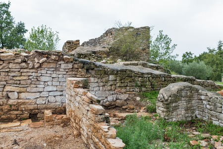 Ancient stone ruins at excavations site close to Station Blek, Istria, Croatia.