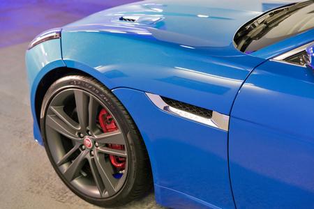 KIEV, UKRAINE - OCTOBER 27, 2017: Blue modern Jaguar F-TYPE on the art exhibition Jaguar. The Art of Performance in Business Center Toronto.