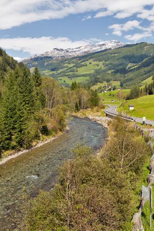 Alpine Moll river landscape near Jungfernsprung waterfall close to Heiligenblut, Carinthia, Austria.