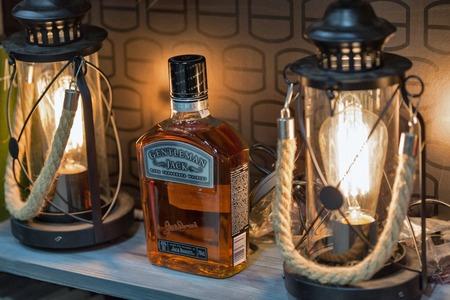 KIEV, UKRAINE - NOVEMBER 25, 2017: Jack Daniels Gentleman Jack Tennessee straight bourbon whisky booth at 3rd Ukrainian Whisky Dram Festival in Parkovy Exhibition Center.