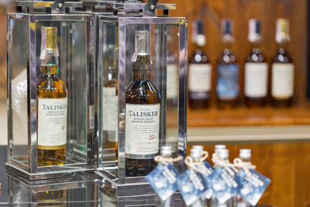 KIEV, UKRAINE - NOVEMBER 25, 2017: Talisker Island Single Malt Scotch Whisky old rare bottle aged 25 years closeup at 3rd Ukrainian Whisky Dram Festival in Parkovy Exhibition Center. Editorial