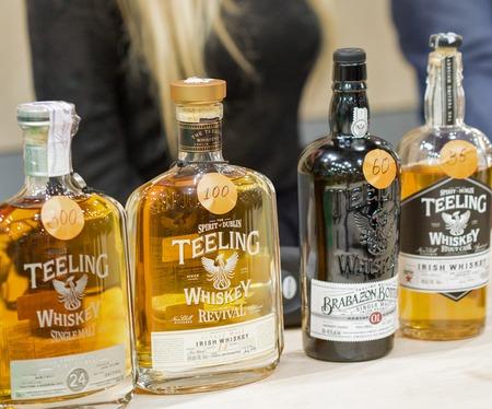 KIEV, UKRAINE - NOVEMBER 25, 2017: Teeling Single Malt Irish Whisky distillery bottles at 3rd Ukrainian Whisky Dram Festival in Parkovy Exhibition Center. Editorial