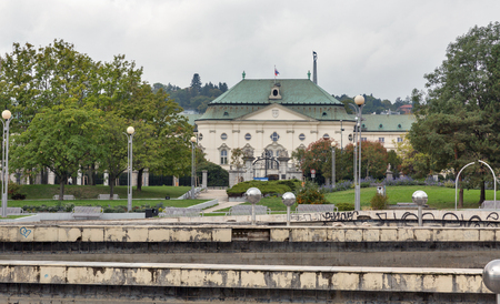 BRATISLAVA, SLOVAKIA - SEPTEMBER 25, 2017: Fountain of Union and Archbishops summer palace in downtown, now it serves as Slovak Government office building.