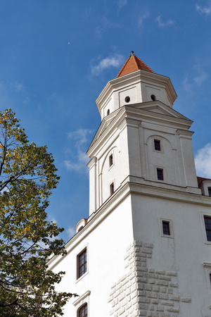 Tower of medieval on hill in Bratislava, Slovakia. Stock Photo