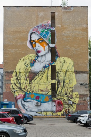 BRATISLAVA, SLOVAKIA - SEPTEMBER 26, 2017: Street graffiti in city downtown. With a population of about 450 000, Bratislava is the capital and country's largest city. Publikacyjne