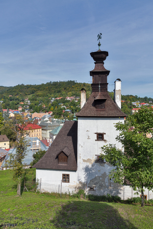 Banska Stiavnica townscape with knocking tower or tea house in the foreground, Slovakia.