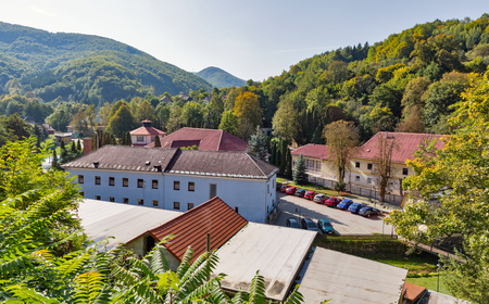 Spa resort Sklene Teplice townscape, Slovakia. It is a small spa village in Banska Bystrica Region of central Slovakia. It is close to the historic town of Banska Stiavnica. Stock Photo