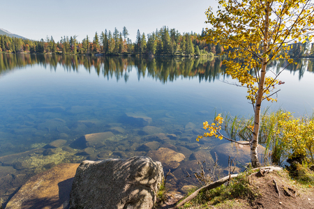 Strbske Lake landscape in Slovakia. It is a favorite ski, tourist, and health resort in the High Tatras and starting point for a popular hikes. Stockfoto