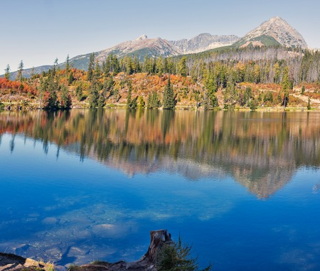 Strbske Lake landscape panorama in Slovakia. It is a favorite ski, tourist, and health resort in the High Tatras.