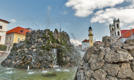 Water fountain closeup in square of Slovak National Uprising in Banska Bystrica, Slovakia. Stock Photo
