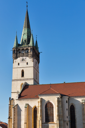 St. Nicolas church or Dom sv. Mikulasa. The oldest and most precious church in Presov, Slovakia. Begginings of this gothic church started at XIII century. Stock Photo