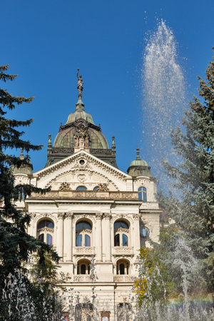 The Singing Fountain and State Opera Theater in Kosice Old Town on Hlavna or Main Square, Slovakia. 版權商用圖片
