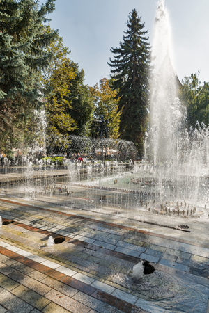 The Singing Fountain in Kosice Old Town on Hlavna or Main Square, Slovakia.
