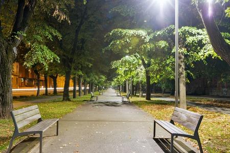 Moyzesova park at night in Kosice, Slovakia.