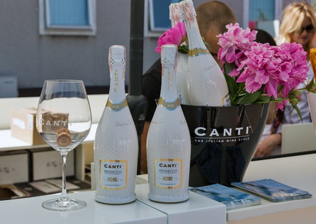 KIEV, UKRAINE - JUNE 02, 2018: Canti booth at Kyiv Wine Festival. Big festival of wine and healthy food was organized by Good Wine company, 77 winemakers from around the world took part there