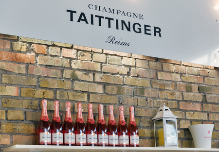 KIEV, UKRAINE - JUNE 02, 2018: Taittinger champagne bar at Kyiv Wine Festival. Big festival of wine and food was organized by Good Wine company, 77 winemakers from around the world took part there. Editorial