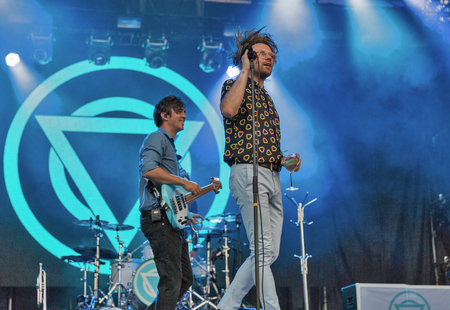 KIEV, UKRAINE - JULY 04, 2018: Enter Shikari, a British alternative post hardcore rock band and Rou Reynolds, lead singer and frontman performs live at the Atlas Weekend Festival in National Expocenter.