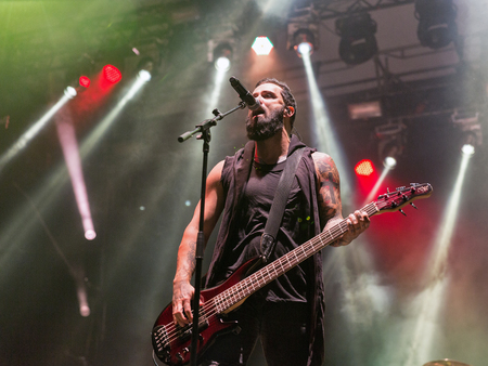 KIEV, UKRAINE - JULY 04, 2018: American Christian metal rock band Skillet and John Cooper, lead vocalist and bass guitarist performs live at the Atlas Weekend Festival in National Expocenter. Editorial