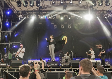 KIEV, UKRAINE - JULY 08, 2018: Vulgar Molly, an Ukrainian pop synthy punk band performs live at the Atlas Weekend Festival in National Expocenter.