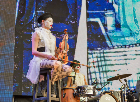 KIEV, UKRAINE - JULY 06, 2018: Dakh Daughters, Ukrainian music and theater project performs live at the Atlas Weekend Festival in National Expocenter. Editorial