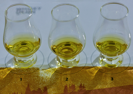 KIEV, UKRAINE - OCTOBER 20, 2018: Tasting whisky glasses closeup in a row at 4th Ukrainian Whisky Dram Festival organized by Good Wine company in Artistic Arsenal.