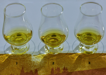 Tasting whisky glasses closeup in a row