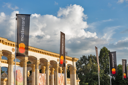 KIEV, UKRAINE - JULY 08, 2018: Mastercard credit card banners at the Atlas Weekend music festival in National Expocenter. The Atlas Weekend is a popular annual modern music and arts festival. Editorial