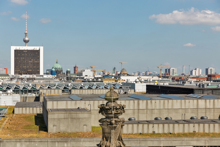 Reichstag roof with Berlin cityscape. Mitte district, Germany Stockfoto