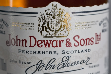KIEV, UKRAINE - NOVEMBER 11, 2018: Dewar's White Label blended Scotch Whisky closeup. Dewar's whiskies have won more than 400 awards and medals in over 20 countries.