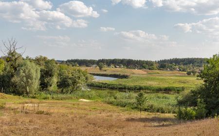 Ros river rural summer landscape, Central Ukraine. Banco de Imagens
