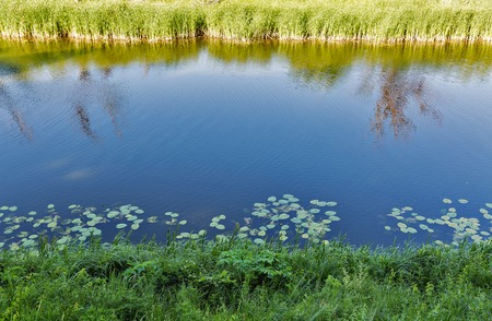 Summer river Ros rural landscape, Ukraine Banco de Imagens