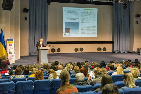 KIEV, UKRAINE - NOVEMBER 01, 2018: Doctors listen to the professor Oleg Chaban lecture during congress Psychosomatic Medicine of the XXI Century: Realities and Perspectives in Ukrainian House IEC.