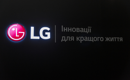 KYIV, UKRAINE - APRIL 06, 2019: LG logo closeup, a South Korean multinational conglomerate corporation booth during CEE 2019 in Tetra Pak EC.