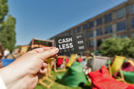 KYIV, UKRAINE - MAY 20, 2018: Kyiv Beer Festival vol. 3 cash less card closeup in Art Zavod Platforma. About 300 unique varieties of craft beer were presented here.