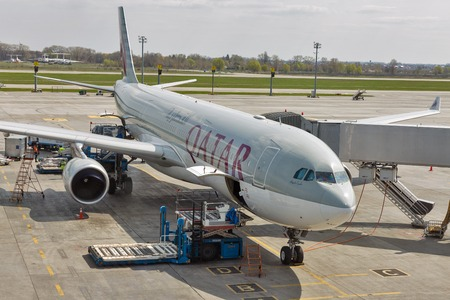 KYIV, UKRAINE - APRIL 18, 2019: Qatar Airways Airbus A330-300 in Boryspil International Airport. It is the countrys largest airport, serving majority of its passenger air traffic. Editorial