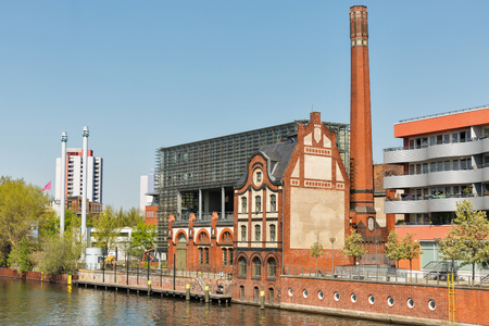 BERLIN, GERMANY - APRIL 18, 2019: Spree river and Radialsystem V cultural and event center. Berlin is the capital and largest city of Germany by both area and population.