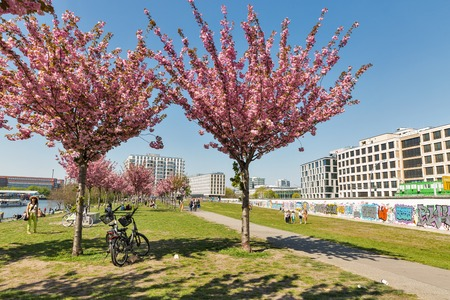 BERLIN, GERMANY - APRIL 18, 2019: People visit sping blooming garden close to Wall barrier and East Side Gallery, international memorial for freedom along Spree river at sunny day.