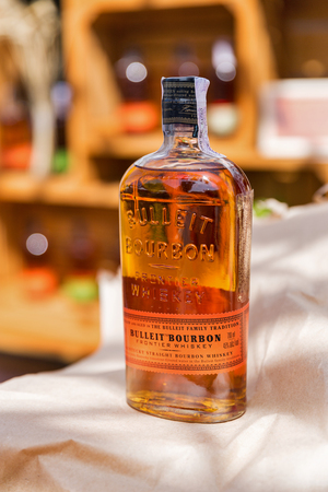 KYIV, UKRAINE - MAY 18, 2019: Bulleit Bourbon frontier whiskey booth during Kyiv Beer Festival vol. 4 in Art Zavod Platforma. It is a brand of Kentucky straight bourbon whiskey.