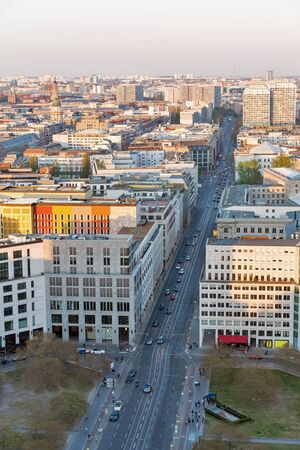Aerial cityscape with Leipziger Square and Federal Ministry of Finance at sunset close to Potsdamer Square. Berlin, Germany. Foto de archivo - 124962134