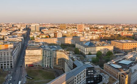 Aerial cityscape with Leipziger Square and Federal Ministry of Finance at sunset close to Potsdamer Square in Berlin, Germany. Foto de archivo - 124962140