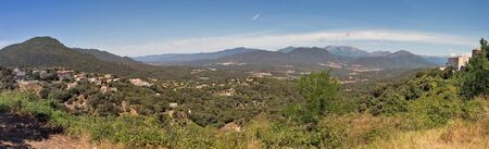 Beautiful mountain landscape panorama in Corsica, France. Valley with Sartene and Porcareccia villages.