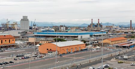 LIVORNO, ITALY - JULY 11, 2019: View over industrial cargo port terminal. Port of Livorno is one of the largest Italian seaports and one of the largest seaports in the Mediterranean Sea. 에디토리얼