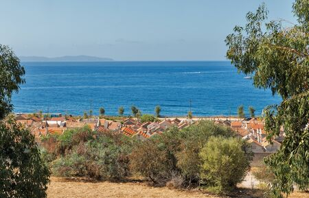 Seascape with famous old cemetery. Ajaccio, Corsica island, France.