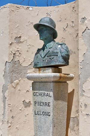 AJACCIO, CORSICA, FRANCE - JULY 13, 2019: Statue of General Pierre Lelong (1891-1947) outside the citadel Miollis. He was Commanding Officer 1st Free French Brigade in North Africa in Second World War