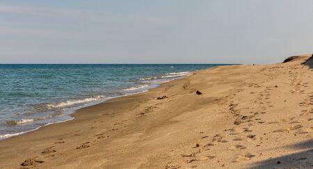Landscape of Corsica island. Bella Riva beach on the east of island, France.