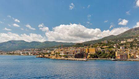 Seaside view of Bastia cityscape with Garden Romieu, Corsica island, France.